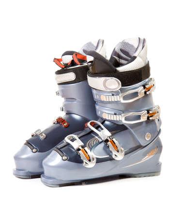 Ski boots. Isolate on white. Stock Photo