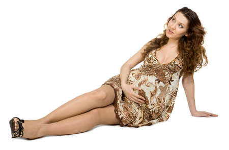 Beauty pregnant young women. Isolate on white. Stock Photo - 2349619