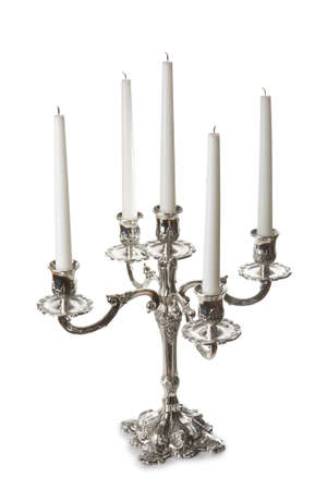 Silver classic candlestick isolated on white