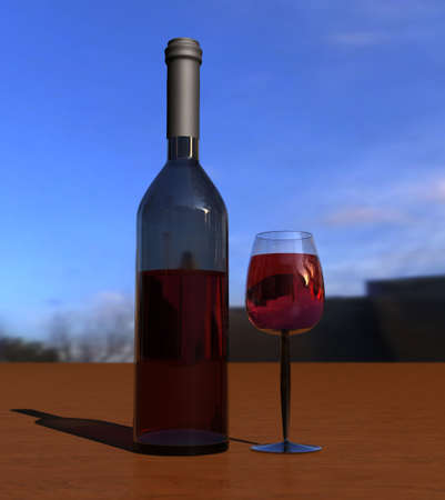 Bottle with wine glass