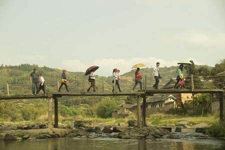 visitors: Visitors walking on bridge