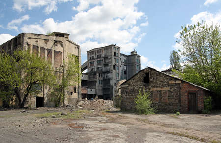 demolished house: Abandoned coal mine in south of Russia Stock Photo