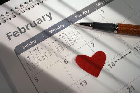 Shot taken lighting valentines day on the calendar photo