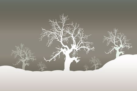 moody: Moody winterSnowy winter scene illustration Stock Photo