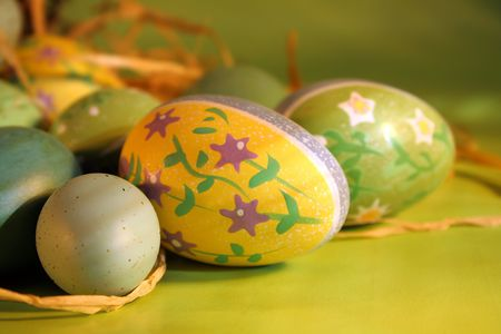 Eggs grouped together for Easter setting photo