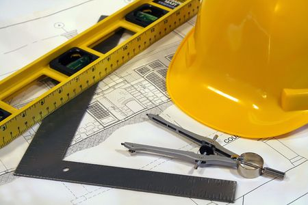 Architectural plans and tools for remodeling a home Stock Photo