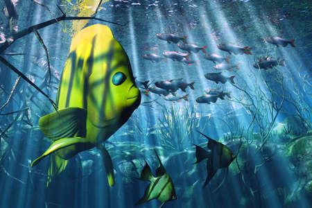 reefscape: Underwater illustration Stock Photo