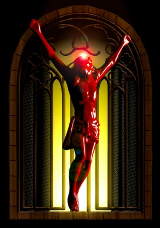 Crucified jesus seen in ancient church photo