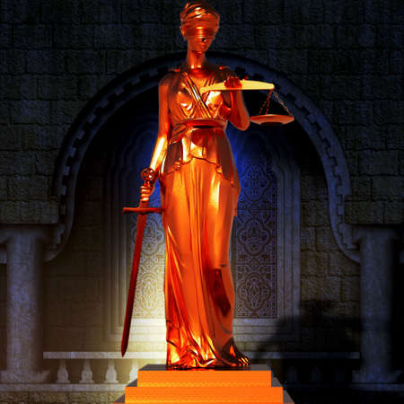 justness: Lady of justice  in spotlight  - concept of justice