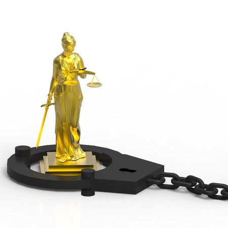 Themis statue and handcuffs over white background photo
