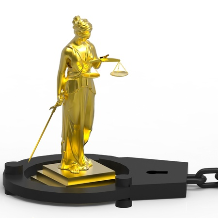 Themis statue and handcuffs over white background Stock Photo - 20813226