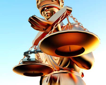 advocate: Estatua de Themis y las esposas sobre fondo blanco