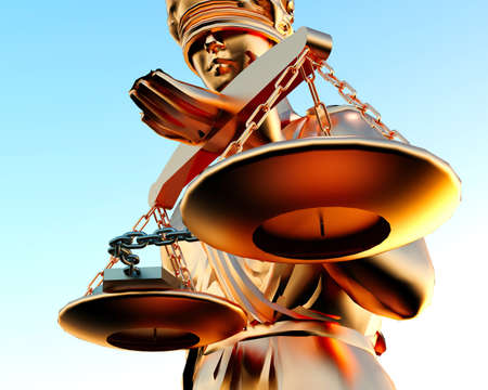 cuff: Themis statue and handcuffs over white background Stock Photo
