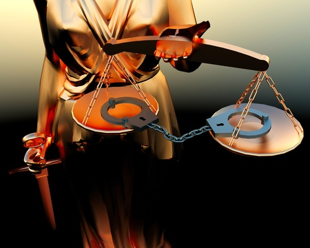 justness: Themis statue and handcuffs over white background Stock Photo