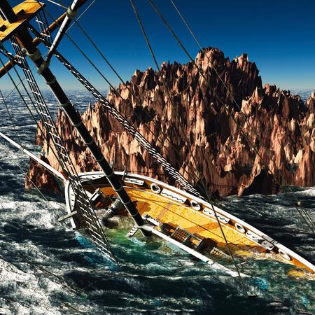 Pirate brigantine out on sea Stock Photo