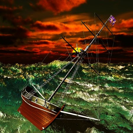 Pirate ship on stormy weather photo