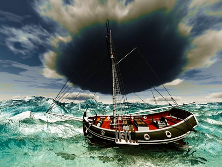 doomed: Pirate ship on stormy weather Stock Photo