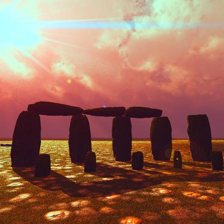 Stonehenge at beautiful sunset in summer photo