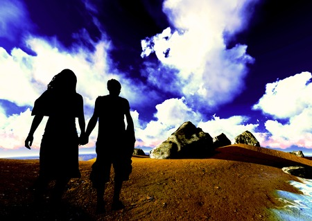 honeymooners: joven pareja en la playa Foto de archivo