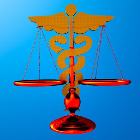 brass rod: Conceptual idea of justice in medicine Stock Photo
