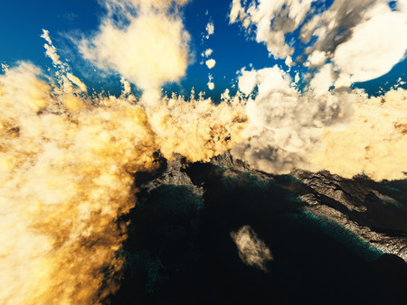 Anak Krakatau erupting - fantasy illustration illustration