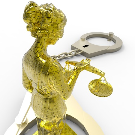 justness: Themis statue and handcuffs