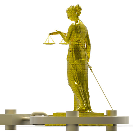 Themis statue and handcuffs  photo