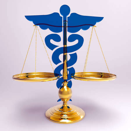 caduceus: Conceptual idea of justice in medicine Stock Photo