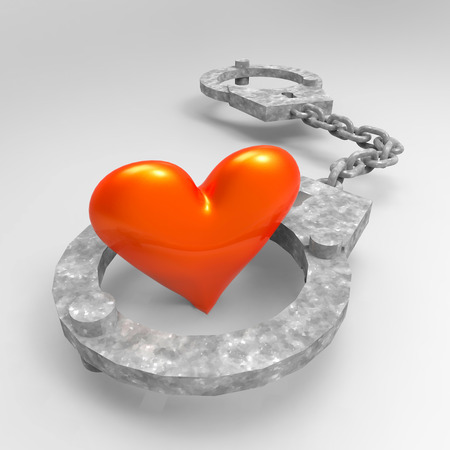 Love heart in handcuffs - conceptual illustration about bonds illustration