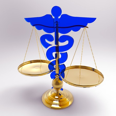 Conceptual idea of justice in medicine photo