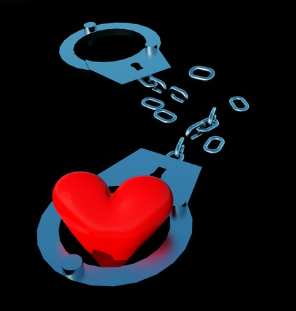 Handcuffs and heart symbol composition. Stock Photo - 23332514