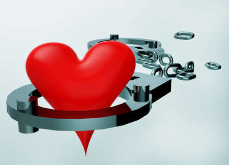 Handcuffs and heart symbol composition photo