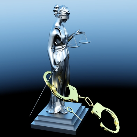 justness: Lady of Justice  statue and handcuffs
