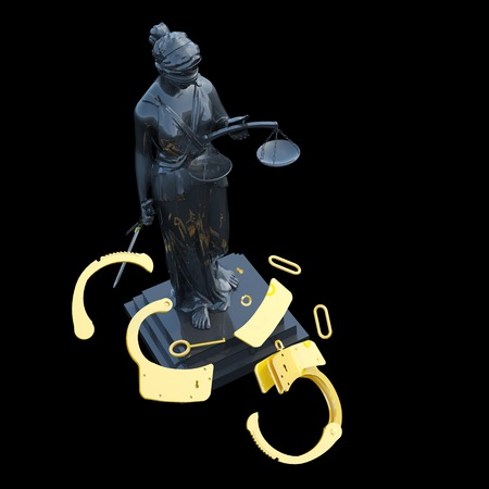justice statue: Lady of Justice  statue and handcuffs