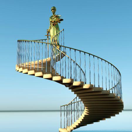 mandato judicial: Pasos para la justicia - se�ora de Justicia est� a la espera de juzgar