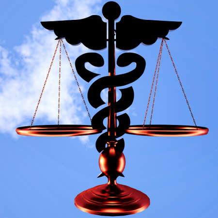 asclepius: Conceptual idea of justice in medicine Stock Photo