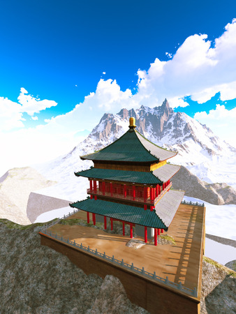 Zen buddhist temple in the mountains photo
