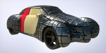 armored car: Generic and futurist  model of armored  car Stock Photo