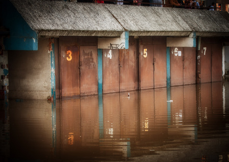 Flooded garage in the city photo