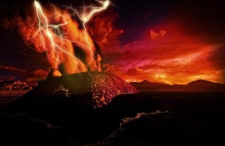 seismic: Anak Krakatau erupting - fantasy illustration