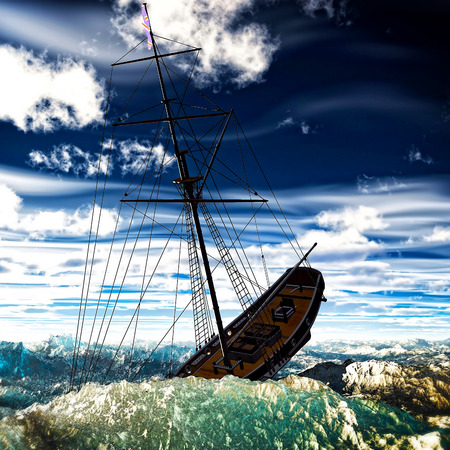 Sinking pirate brigantine on stormy seas photo
