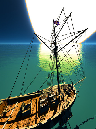topsail: Pirate brigantine out on sea Stock Photo