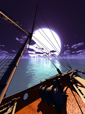 .Pirate brigantine out on sea