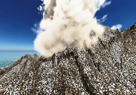 ash cloud: Anak Krakatau erupting - fantasy illustration