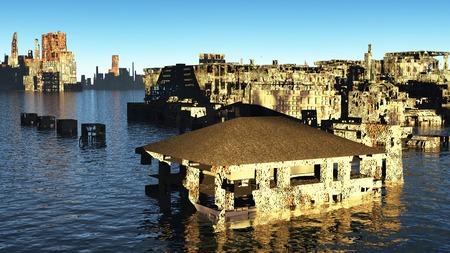 Tsunami devastated  city on the shore photo