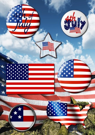 usa patriotic template with badges photo
