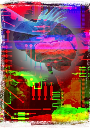 Abstract technological background with hand and brain photo