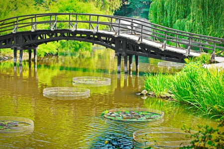 Traditional japanese bridge in Japanese garden photo