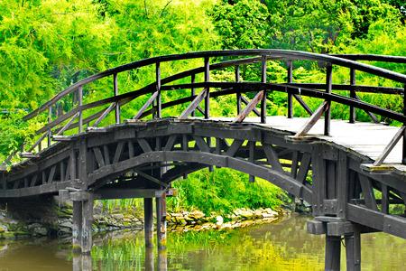 Traditional japanese bridge in Japanese garden photo