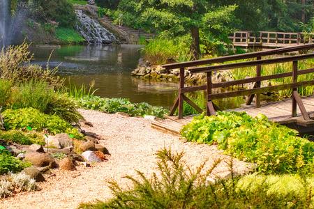 japanese bridge: Traditional japanese bridge in Japanese garden Stock Photo